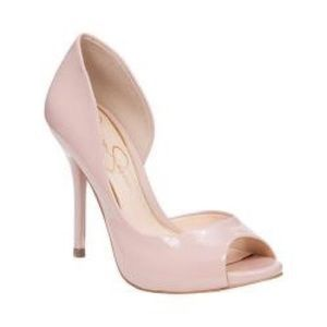 Nude patent leather peep toes heels